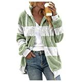 Aniywn Women Casual Fuzzy Fleece Hooded Cardigan Sweatshirt Color Block Faux Fur Winter Warm Plus Size Outerwear Coat Green