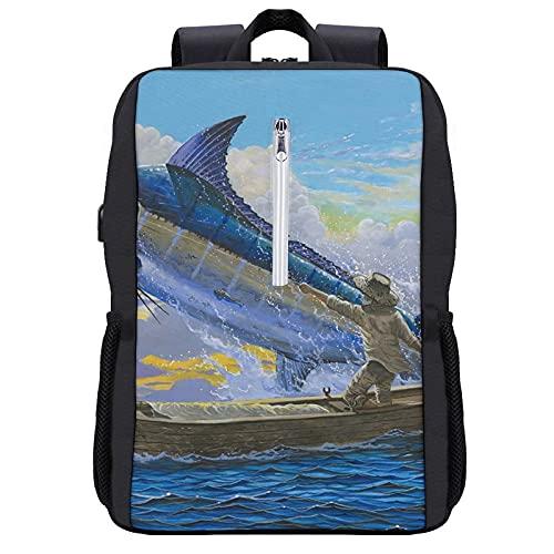 Travel Laptop Backpack,Old Man Blue Marlin Billfish Sportfishing Mar,Business Anti Theft Computer Bag Slim Durable with USB Charging Port