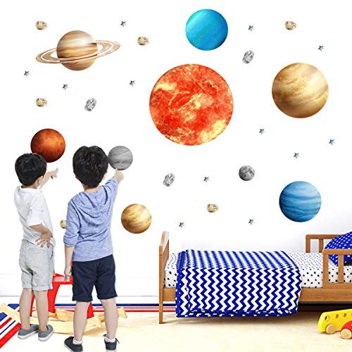 9 Planetas Pegatina,Estrellas y Planetas Pegatina de Pared para Dormitorio de Niños,Pegatinas de 9 Planetas del Sistema Solar Pegatinas de Pared Decorativos
