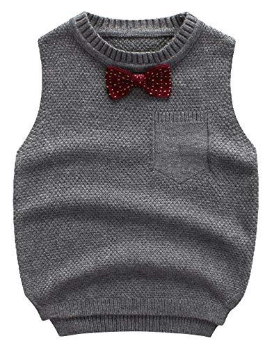 EOZY Baby Jungen Pullover Weste Baumwolle Strickweste Ärmellos Sweatshirt Grau Größe 100