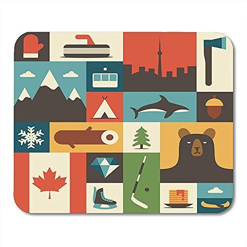 Mauspad Kanada Flache Handschuhe Landschaft Axt Berg Camping Fisch Winter Holz Wald Bär Baum Hockey Diamant Flagge Mauspad Matten 25X30 cm
