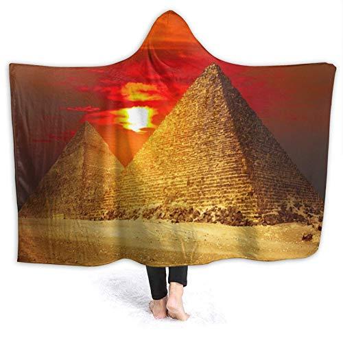 Sunset Egipto Pirámide Paisaje Natural con Capucha Manta, Suave Turbante Franela Manta para Hombre Mujer Niños