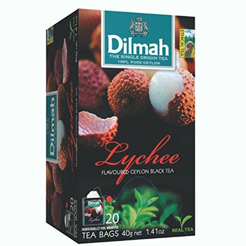 Dilmah Litschi Aromatisierter Ceylon Schwarzer Tee - 20 Teebeutel - Sri Lanka Ceylon Dilmah Lychee Tee Echter Tee