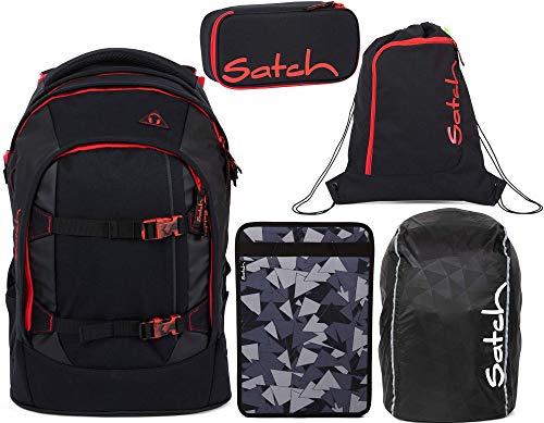 Satch Pack Fire Phantom 5er Set Schulrucksack, Sportbeutel, Schlamperbox, Heftebox & Regencape Schwarz