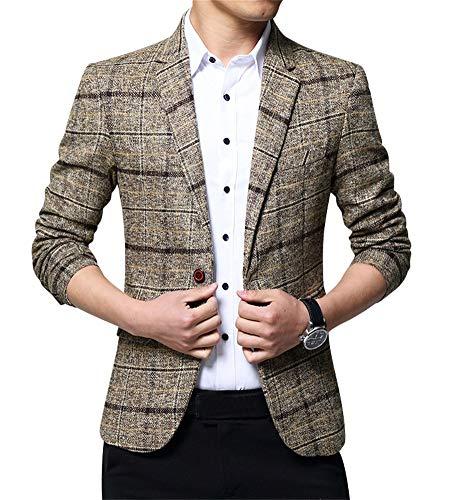 ZiXing Herren Slim Fit Tweed Sakko Blazer Anzug Jacke Kariert Hochzeit Party Khaki Small