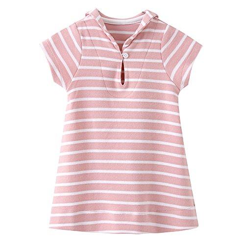 ZHUANNIAN - Vestido de rayas para bebé, manga corta, cuello marinero, ropa de verano Rosa rosa 18 meses