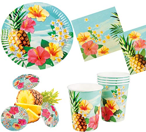 Karneval-Klamotten Party Set XL Hawaii Blume Hibiskus 30 Teile : Teller, Becher, Servietten, Cocktail-Schirmchen