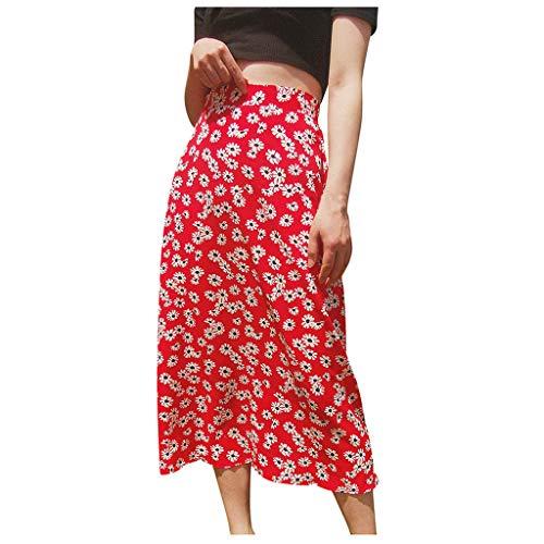 Dasongff Damen Rock Lang Boho Sommerrock A-Linie Punkte Faltenrock Casual Maxi Strandrock High Waist Blüte Drucken Röcke Elegante Frauen Sommer Kleidung
