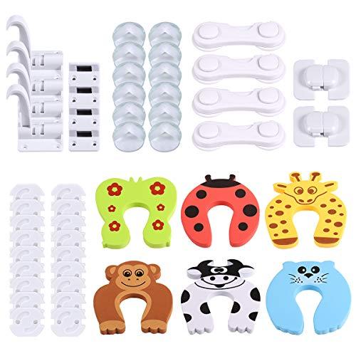 KNMY 50pcs Kits de Seguridad para Bebés, 18 PCS Tarjeta de enchufe, 16 PCS Ángulo anticolisión, 6 PCS Tarjeta de puerta, 4 PCS Desbloqueo de par, 4 PCS Cerradura del gabinete