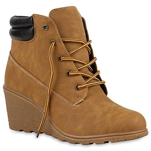 Damen Worker Boots Wildleder-Optik Wedges Keilabsatz Stiefeletten Schnürstiefeletten Schuhe 123179...