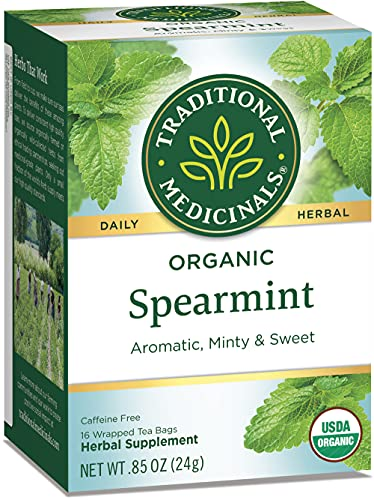 Traditional Medicinals Organic Spearmint Tea, Healthy & Refreshing, (Pack of 6) - 96 Tea Bags Total