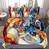 RWNFA Bedding Duvet Cover Set,Full/Queen (90x90 inch), Mega Charizard X Y,3 Pieces Bedding Set,with Zipper Closure and 2 Pillow Shams, Cute Cartoon Bedroom Comforter Sets for Boys Girls