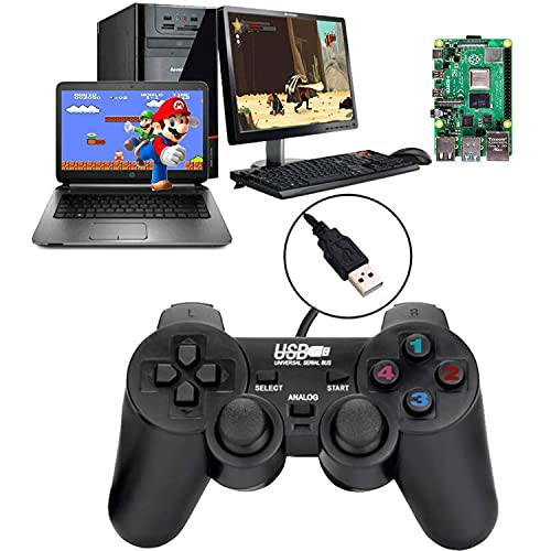 Baigeda Game Controllers for Computer Laptop USB 3.0 Wired Dual Shock Joypad for PC Game Hardware Joystick Gamepad 1.5M 4.9 Feet Black