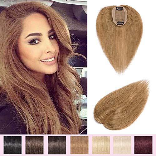 Hair Topper Donna Extension Capelli Veri Clip SILK BASE Remy Human Hair -15cm 15g #27 Biondo Scuro - Toupet Lisci Invisibile Naturale