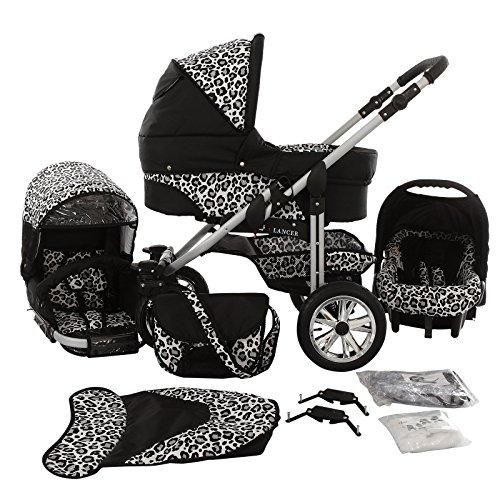 Chilly Kids Matrix Lancer 4 in 1 combi-kinderwagen (autostoel, ISOFIX, regenbescherming, muggennet, draaibare wielen, 14 kleuren) 58 zwart & luipaardpatroon