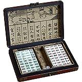 ChengBeautiful Mini Mahjong Mahjong Juego Mini Antiguo Chino con Madera Caso del Recorrido de la Familia de Mahjong Estilo Chino (Color, Size : 1.6x1.2x0.8cm)
