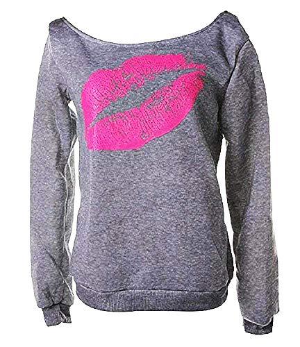 Sweatshirt vrouw mond - lippen - shirt - vrouw - meisje - kus - lange mouw - boothals - grijs - origineel cadeau idee