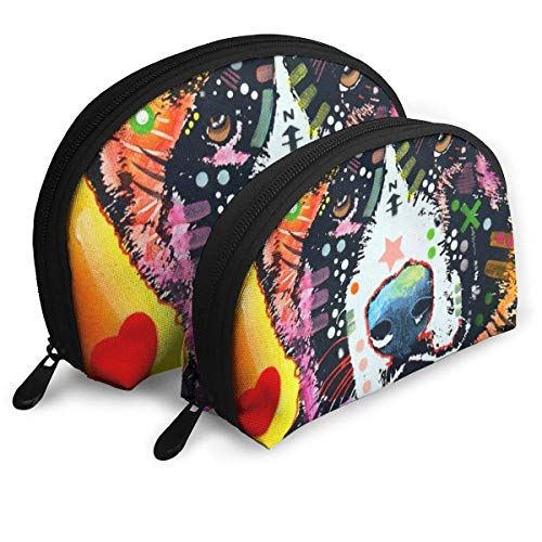 Color Art Chinese Garden Dog Portable Bags Clutch Pouch Coin Purse Cosmetic Travel Storage Bag 2Pcs Handbag
