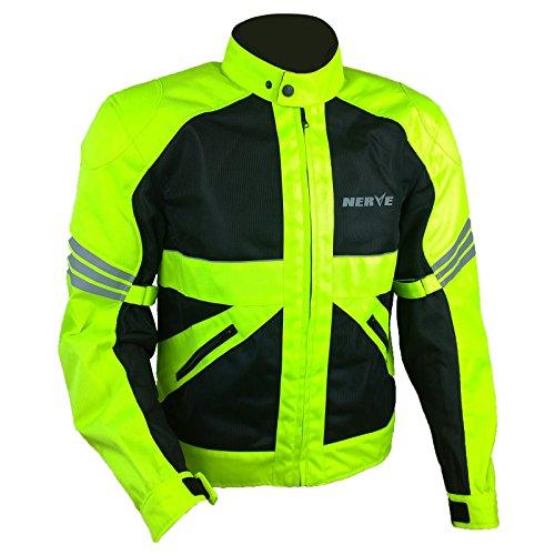 Nerve Shop Leichte DünneMesh Motorradjacke -Go-RollerMotorrad Jacke Herren Kurze Textil MännerProtektorenjacke Sommerjacke Luftdurchlässig - schwarz-neon-grün-gelb - 3XL / XXXL