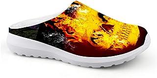 Sandalias Unisex Transpirables de Malla con diseño de Calavera de Fuego para Verano y Playa, Antideslizantes, para Deporte...