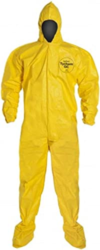 DuPont Tychem 2000 QC122B Disposable Chemical Resistant Coverall with Hood and Elastic Cuff, Yellow Size XL Bound Sea...