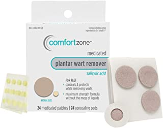 Comfort Zone Plantar Wart Medicated Patches and Concealing Pads Remover Kit, 24 Count
