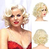 Baruisi Short Curly Blonde Wig for Women Synthetic Natural Wavy Marilyn Monroe Costume Wig for Cosplay Party
