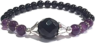 Handmade Black Onyx, Amethyst and Black Tourmaline and Healing Bracelet 7 Inches