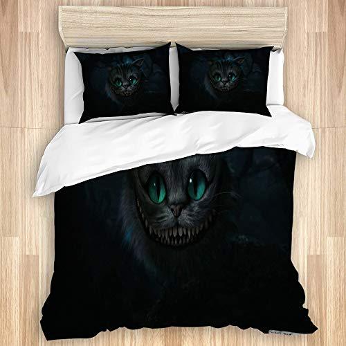 "VAMIX 3pc Duvet Cover Set,Cheshire Cat, Alice in Wonderland,Bedding Set with Zipper Closure&Corner Ties,Twin-68"" x 88"""