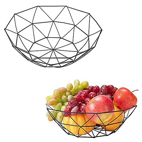 2 Piezas Plato de Fruta de Alambre, Cesta de Fruta Decorativa Geométrica, Plato de Fruta de Metal Antiguo, Cesta de Fruta Antigua Geométrica, Que se Utiliza para Almacenar Frutas, Verduras y Pan