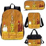 Juego de mochila para adolescentes de 17 pulgadas, diseño de conejo de dibujos animados en Henhouse, juego de bolsas escolares para trabajo, escuela, viajes, picnic