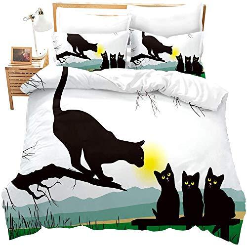 zzkds NiñosNiñosGatitos Gato ImpresoCute Animal Pattern 3 Piezas Funda de edredón Lovely Pet Lover'S Quilt Cover
