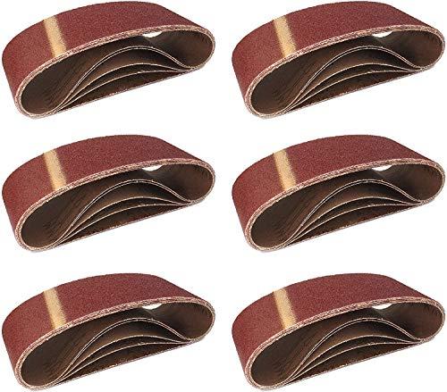 Bandas de lija de tejido (10 unidades, 75 x 457 mm, grano 100, para lijadora de banda, papel de lija)