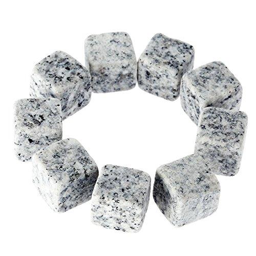 Anself 9pcs Piedras de Hielo para Vino de 18mm Cubitos del Whisky para Bebidas climatizado Cubos de Cerveza de Rocas de Granito con Bolsa de Almacenamiento