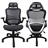 Ergonomic Office Chair Weight Capacity Over 250Ibs, Breathable High Back Mesh Office Chairs, Adjustable Headrest, Backrest and Flip-up Armrests, Swivel Home Desk Executive Chair for Height Under 5'11