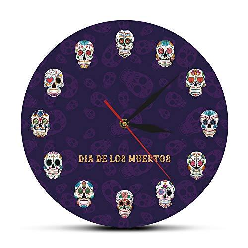 NIGU Día del miembro regalos para las mujeres Cráneo mexicano Reloj de pared Cabeza Muerta Flores Reloj de pared decorativo Floración Crossbones Humanos Tatuaje Regalos para los hombres