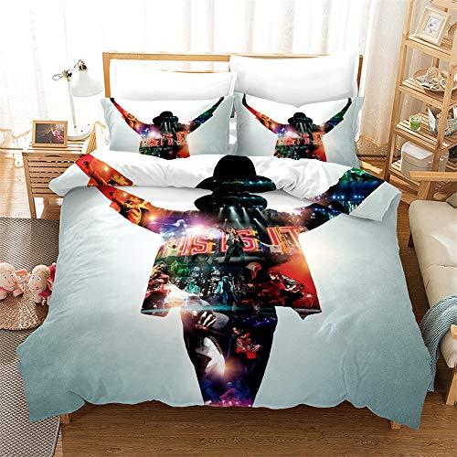 ZKDT Michael Jackson Quilt Cover Set di 3 lenzuola 100% microfibra morbida e confortevole, Stile 6, 135x200 cm