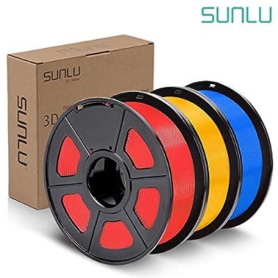 SUNLU PLA Plus Filament 1.75mm 3D Printer 3D Pens 3KG PLA+ Filament +/- 0.02 mm,Red+Pure Yellow+Blue