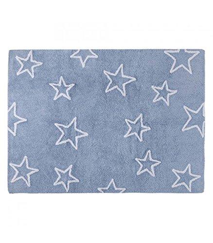 Happy Decor Kids hdk-215 Tapis lavable Stars, blu-bianco, 120 x 160 cm