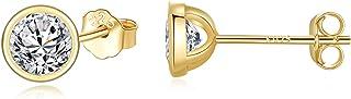 SNORSO Boucles d'oreilles Femme en Argent 925 Avec Zircone Cubique, Clous d'oreilles Rondes Cristaux de Swarovski Elements...