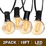 Svater Globe Led String Lights 2x18FT 10 Hanging Socket with 2x10 G40 LED Bulbs 1W 2200K Dimmable IP45 Waterproof Indoor/Outdoor Light String for Patio Backyard Cafe