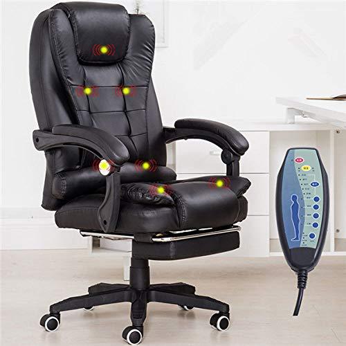 PSSYXT Bürostuhl Computer-Schreibtisch-Massagestuhl mit Fußstütze liegend Executive Ergonomic Vibrating Office Chair Möbel, Schwarze Farbe