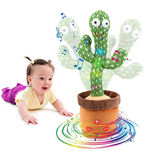 [Update Adjustable Volume Control] Dancing Cactus Toy Talking Cactus Toy for Babies Repeats What You Say Singing Mimicking Repeating The Cactus Plush Electric Toy with Colorful Glowing (120 Songs)