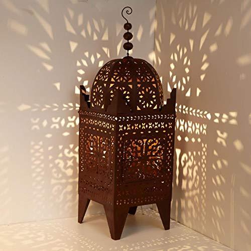 Farol oriental de jardín marroquí Firyal, 180 cm de altura, color marrón oxidado | bonita decoración para jardín, balcón, terraza, idea de regalo | Farol de hierro para interior y exterior | L1753