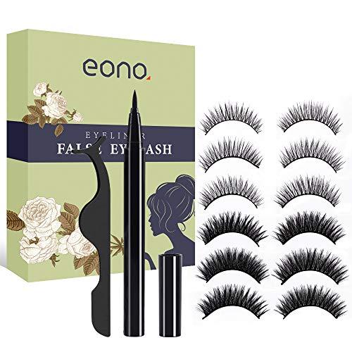 Eono by Amazon - Magic Eyeliner und Falsche Wimpern, kein Kleber und Magnetische Wimpern Eyeliner Selbstklebender Eyeliner Wasserdicht und Langlebig
