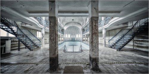 Posterlounge Acrylglasbild 100 x 50 cm: Schwimmbad Panorama von Meinolf Lipka - Wandbild, Acryl Glasbild, Druck auf Acryl Glas Bild