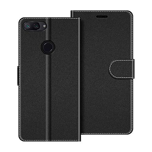 COODIO Handyhülle für Xiaomi Mi 8 Lite Handy Hülle, Xiaomi Mi 8 Lite Hülle Leder Handytasche für Xiaomi Mi 8 Lite Klapphülle Tasche, Schwarz