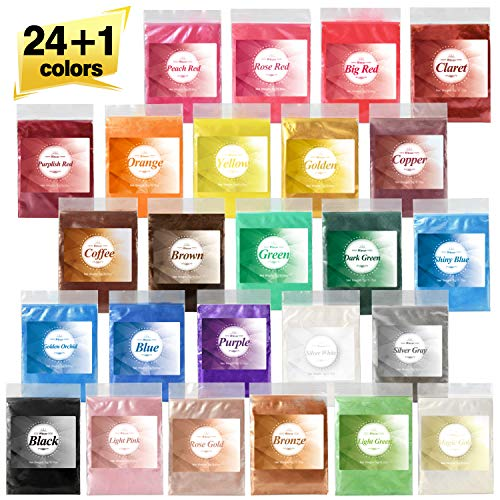 24 Color Mica Powder- Epoxy Resin Dye -Bath Bomb Dye Powder - Soap Making Colorant - Lip Gloss- Powdered Pigments Set for Makeup, Resin Jewelry, Craft Projects(0.18 oz Each Color)