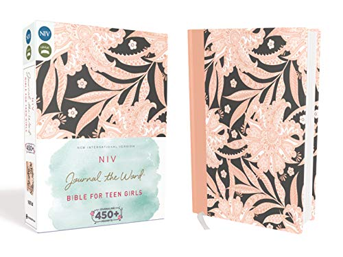 NIV, Journal the Word Bible for Teen Girls, Hardcover, Pink Floral, Red Letter: Includes Over 450 Journaling Prompts!