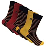 Sock Snob 6 paires chaussettes bambou homme fantaisie dans 5 styles 40-45 eur (Stripes Red/Yellow)